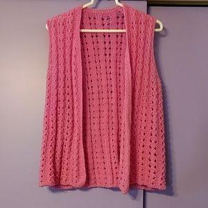 Jackets & Blazers - Handmade crocheted pink vest
